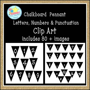 Chalkboard Pennant Letters, Numbers and Punctuation Clip Art