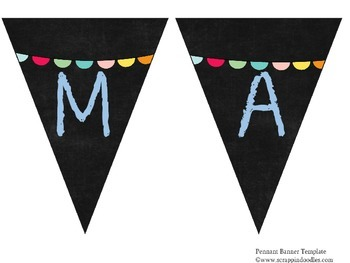 Chalkboard Pennant Subject Headers with a sweet bunting
