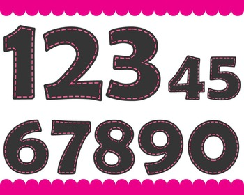 Chalkboard Pink Numbers - Digital Clip Art Graphics(146)