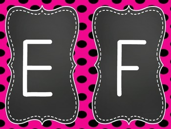 Chalkboard Pink Word Wall Letters