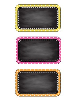 Chalkboard Polka Dot Labels/Decor - 4 designs, 8 colors - Editable