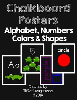 Chalkboard Posters Alphabet, Numbers, Colors and Shapes