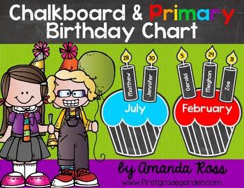 Chalkboard Primary Classroom Birthday Chart