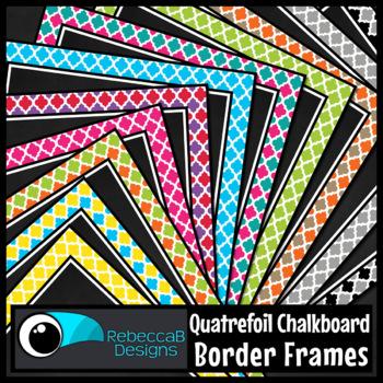 Framed Chalkboard Clip Art (Quatrefoil)
