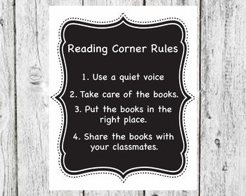 Chalkboard READ Sign, Reading Corner Rules and Dr. Seuss Quote