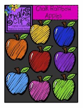 Chalkboard Rainbow Apples {Creative Clips Digital Clipart}