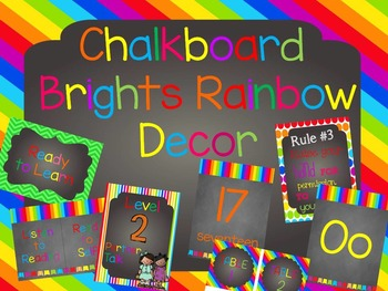 Chalkboard Rainbow Brights Classroom Decor