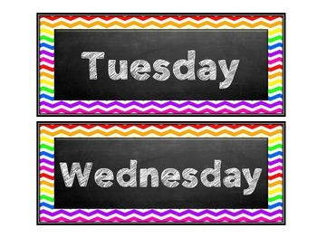 Chalkboard Rainbow Chevron Days of the week