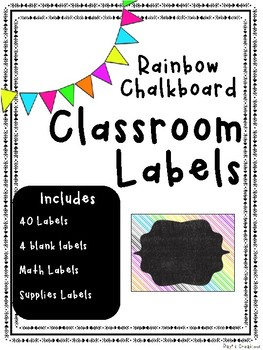 Chalkboard Rainbow Classroom Labels