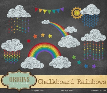 Chalkboard Rainbow Clipart, rainbow chalk png clip art weather