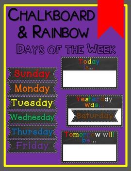 Chalkboard & Rainbow Days of the Week