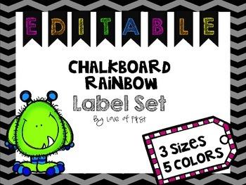 Chalkboard Rainbow Label Set--EDITABLE