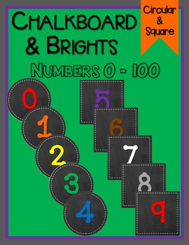 Chalkboard & Rainbow Numbers - Square & Circular