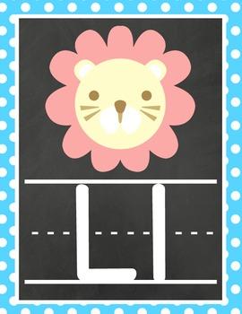 Chalkboard Rainbow Polka Dot Alphabet Posters