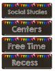 Chalkboard & Rainbow Schedule Cards