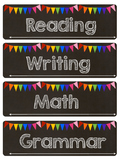 Chalkboard & Rainbow Schedule Cards