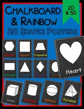 Chalkboard & Rainbow Shape Posters