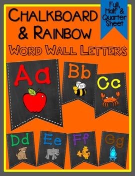 Chalkboard & Rainbow Word Wall Letters