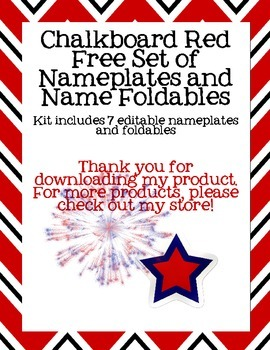 Chalkboard Red Free Set of  Nameplates and Name Foldables