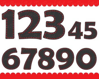 Chalkboard Red Numbers - Digital Clip Art Graphics (145)