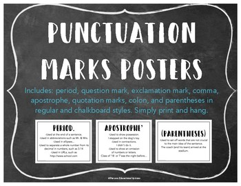 Chalkboard & Regular Style Punctuation Mark Signs