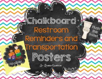 Chalkboard Restroom Reminders and Transportation Posters