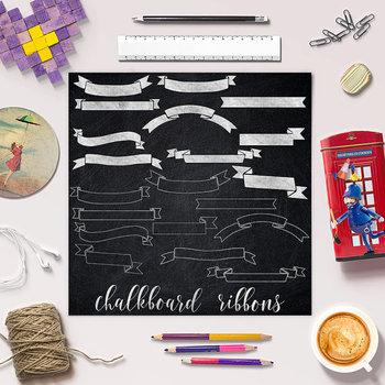 Chalkboard Ribbons Clipart, Chalkboard Banners Clip Art