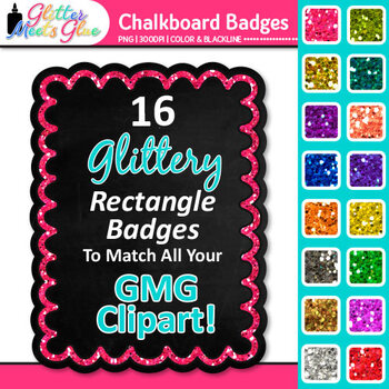 Chalkboard Frame Clip Art {Rectangle Rainbow Glitter Labels for Worksheets}