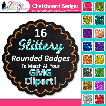 Chalkboard Frame Clip Art {Round Rainbow Glitter Labels for Worksheets}
