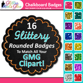 Chalkboard Frame Clip Art | Round Rainbow Glitter Labels for Worksheets