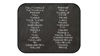 Chalkboard Schedule Cards