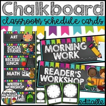 Chalkboard Schedule Cards EDITABLE