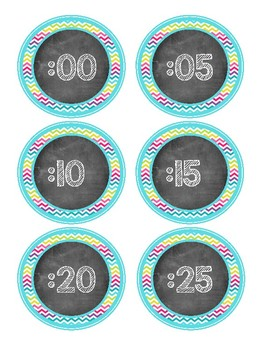 Chalkboard Schedule Cards and Clock Labels