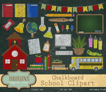 Chalkboard School Clipart - Back to School Clipart, School clip art, Chalk stati