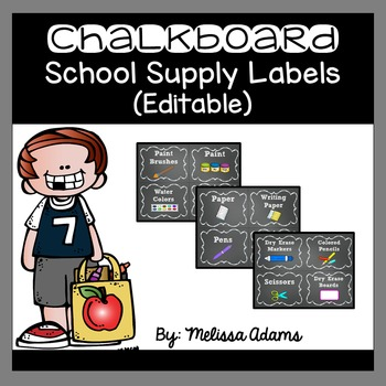 Editable Chalkboard School Supply Labels