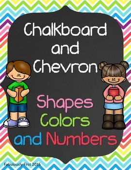 Chalkboard and Chevron Shapes, Numbers, and Colors (Classroom Posters)