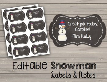 Chalkboard Snowman Labels - Notes - Name Tags - Positive Tickets -  Word Walls