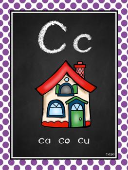 Chalkboard Spanish Alphabet & Syllable Charts