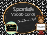 Chalkboard Spanish Vocab Cards - Numbers 1-20