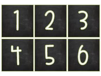 Chalkboard Square Number Labels (1-40)