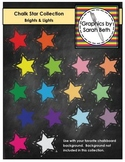 Chalkboard Star Clipart - Chalk Stars Collection - Brights