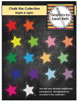 Chalkboard Star Clipart - Chalk Stars Collection - Brights