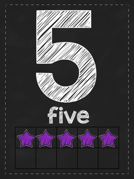 Chalkboard Star number posters