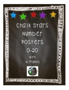 Chalkboard Stars Number Posters 0-20 w/Ten Frames