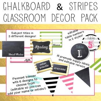 Gold, Chalkboard & Stripes EDITABLE Decor Pack