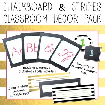 Gold, Chalkboard & Stripes EDITABLE Decor Pack