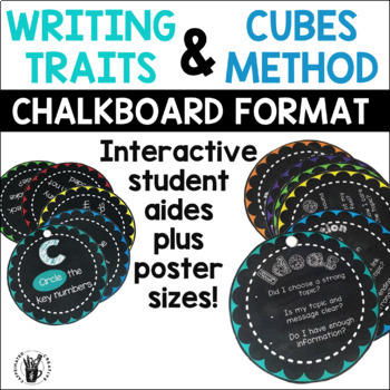 Writing Traits and CUBES Student Aides and Posters Bundle -Chalkboard