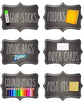 Chalkboard Student Supply Labels *editable*