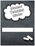 Chalkboard Student Teaching Binder Cover (Editable)