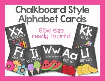 Chalkboard Style Alphabet Cards